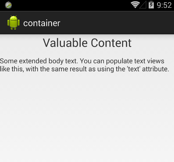 Container with text content