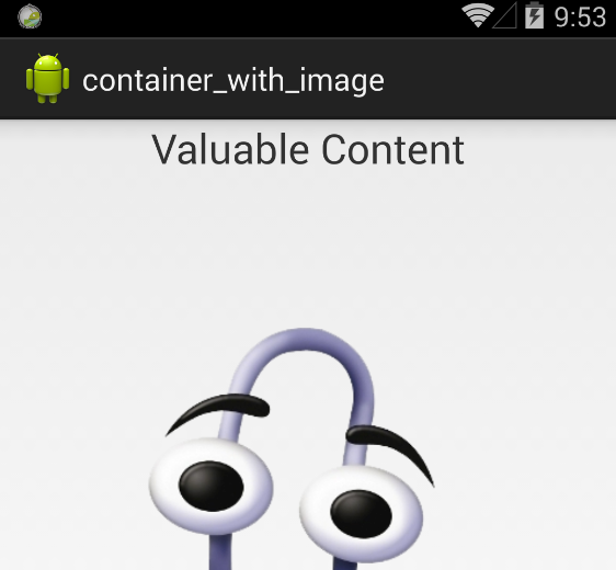 Container with image content