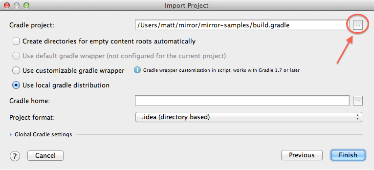 "Import project window highlighting the ""..."" button"